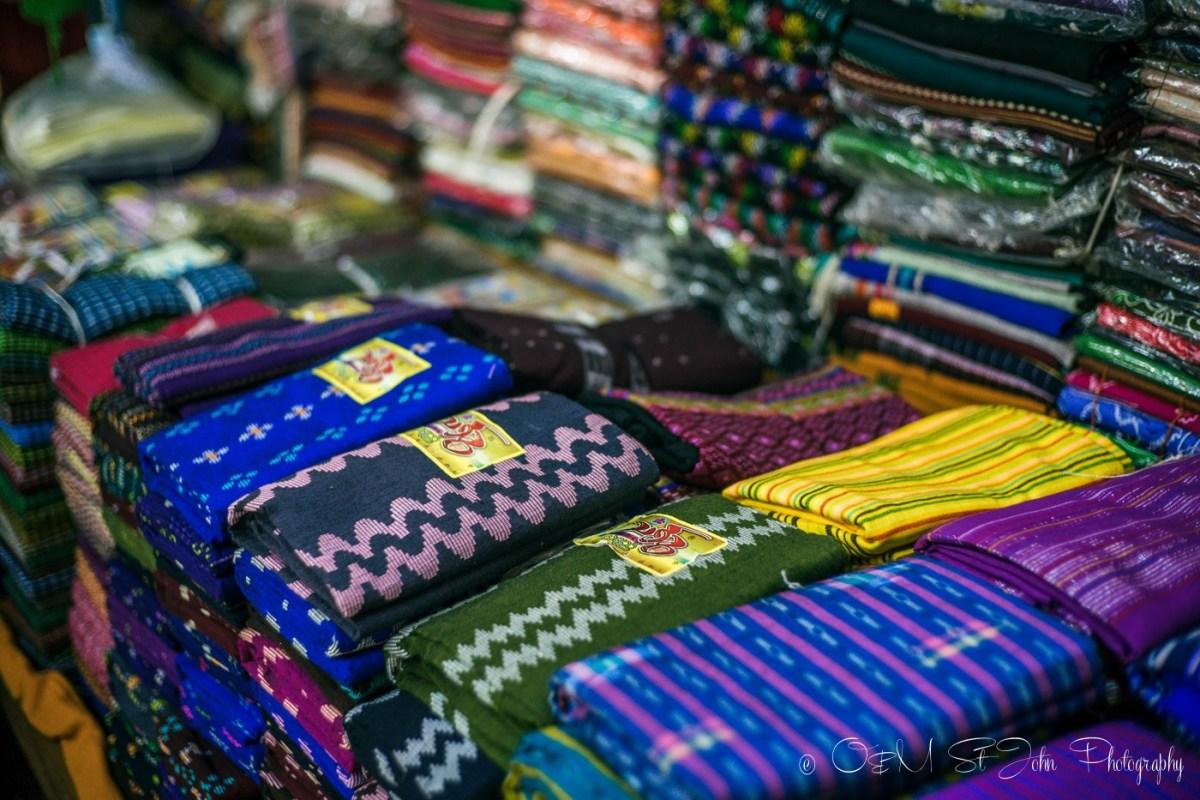 Longyis on sale at the Bogyoke Aung San Market. Yangon. Myanmar