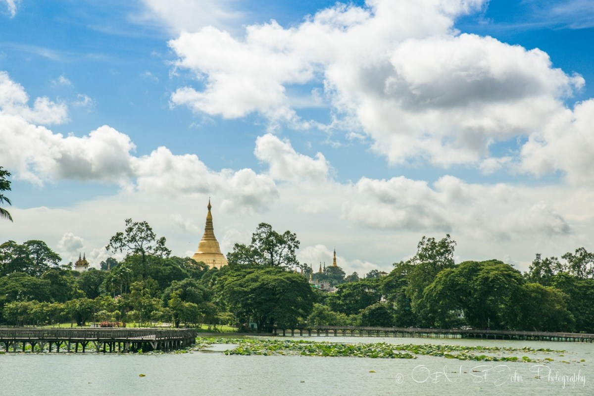 Shwedagon Pagoda as seen from inside the Kandawgyi Park