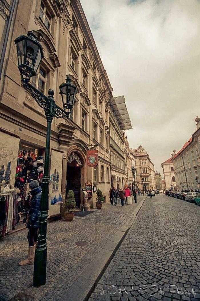Cobblestone streets in Mala Strana. Prague