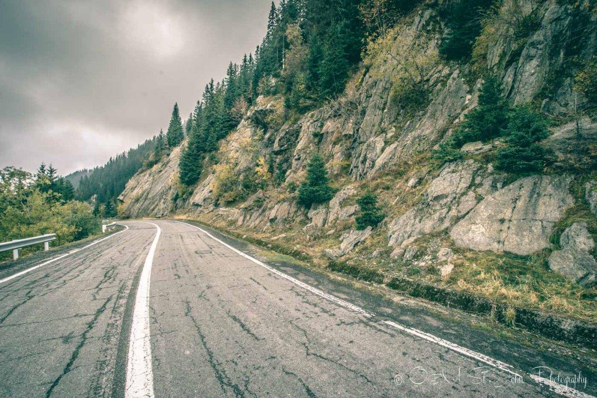 Jagged rocks along the Transfagarasan Highway. Road trip in Romania
