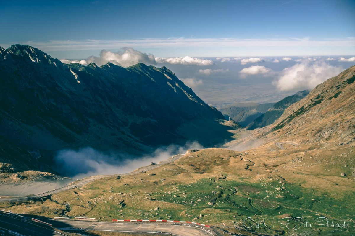 In the clouds along the Transfagarasan Highway. Road trip in Romania