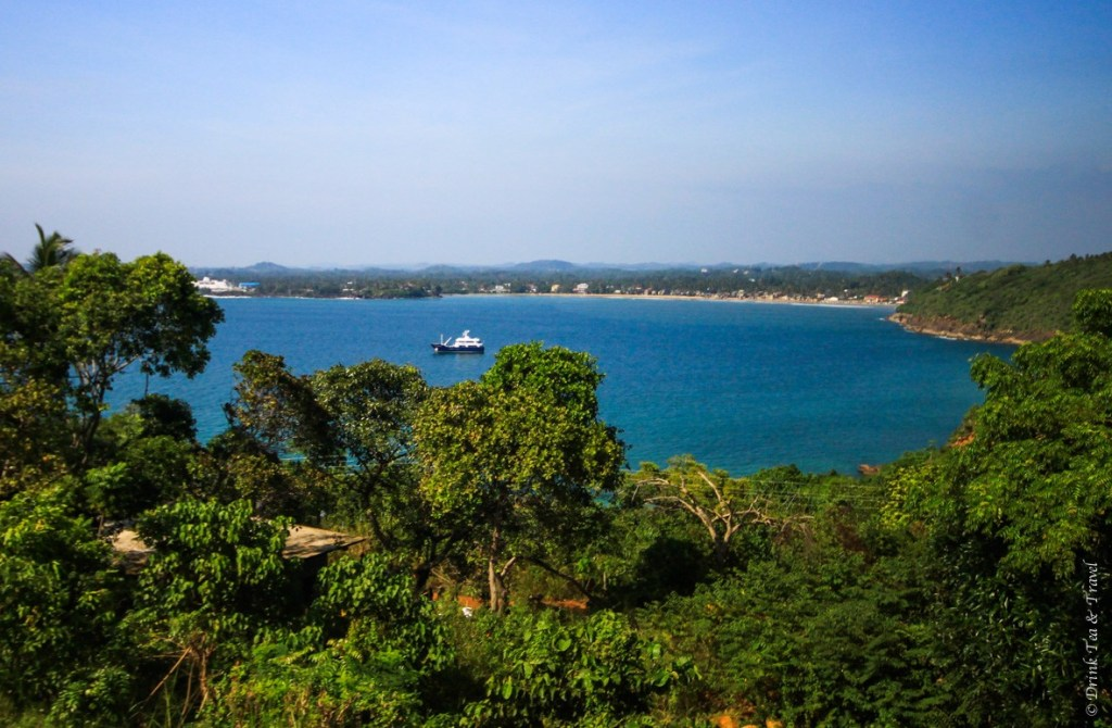 Overlooking Sri Lanka from the Japanese Peace Pagoda in Unawatuna. Nothing but blue skies and lush greenery.
