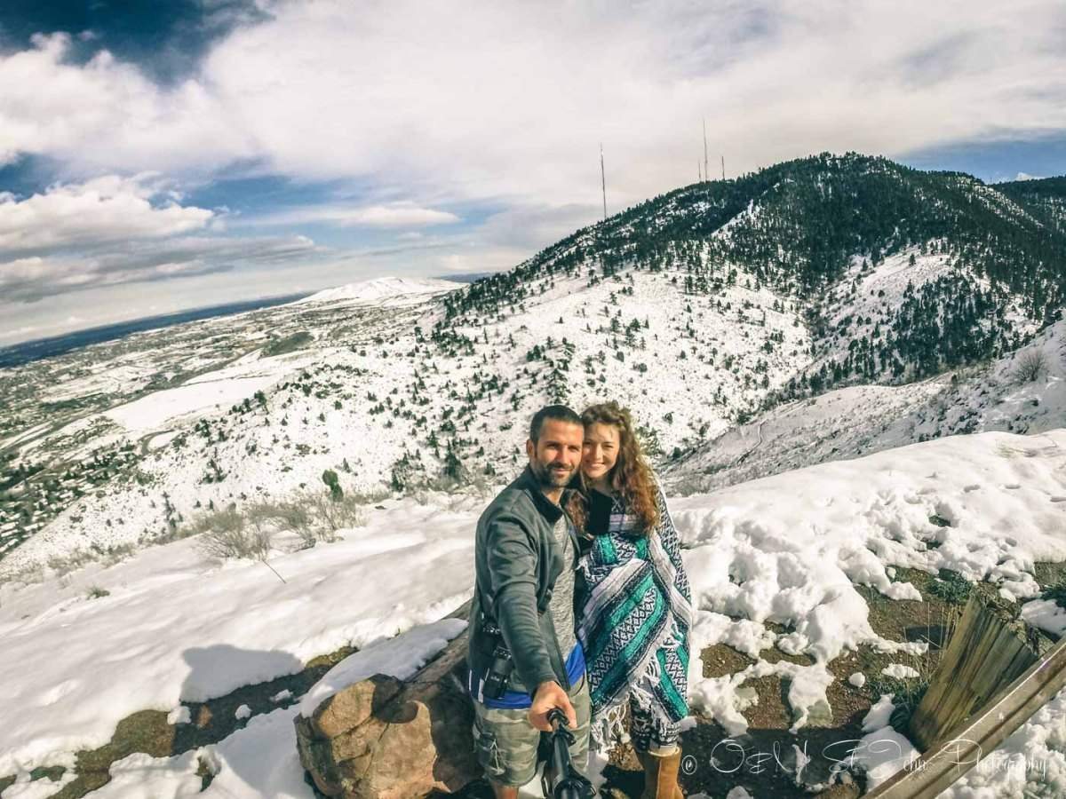 Colorado road trip: Beautiful Denver in the snow. View from the Lookout Mountain. Colorado. USA