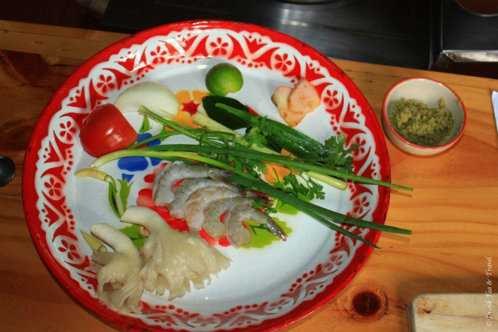 Top Yum Soup ingredients, Thai Farm Cooking School