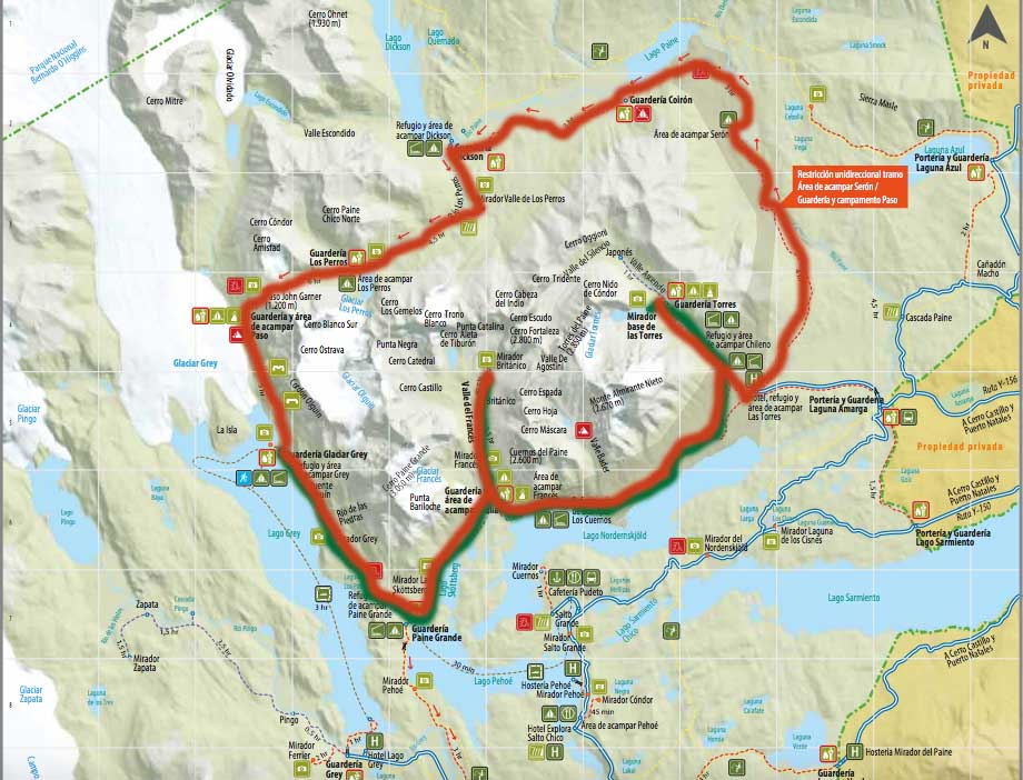 Torres del Paine O Circuit (in red)