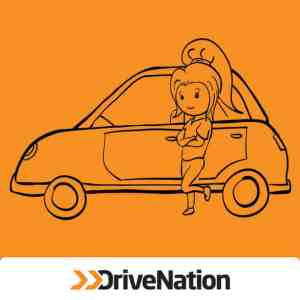Animated Female Student Buying A Used Car