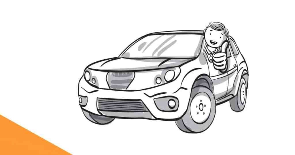Picture Of Cartoon Man In SUV