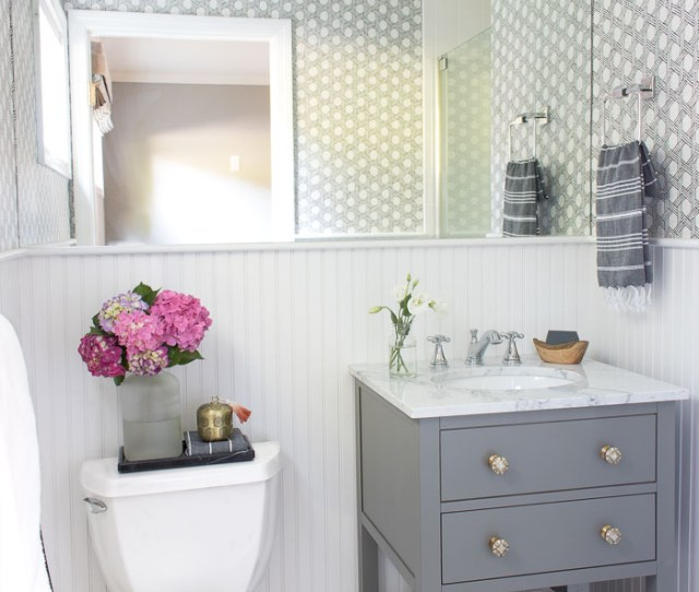 Ideas And Inspiration For Remodeling A Small Bathroom Gray Vanity With Marble Top And Delta