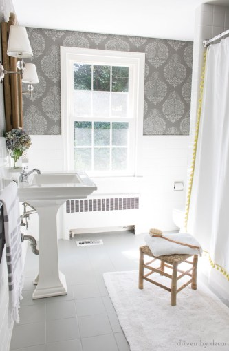 How I Painted Our Bathroom s Ceramic Tile Floors  A Simple  and     A budget bathroom remodel with ceramic tile floors painted gray and walls  stenciled to look like