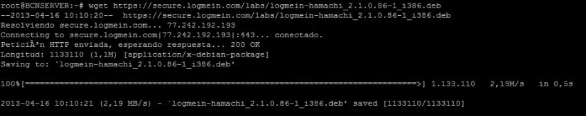 Descargando hamachi Linux wget 32bits