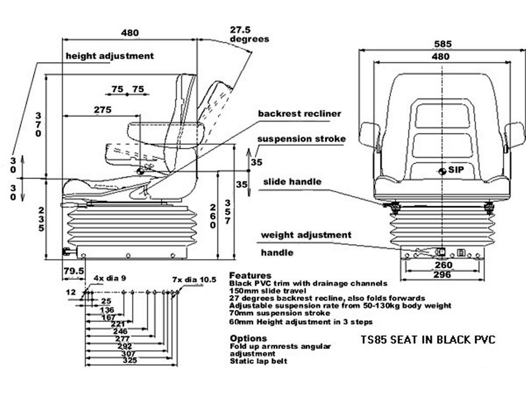 Linde Forklift Seat Ds85 90 Pvc