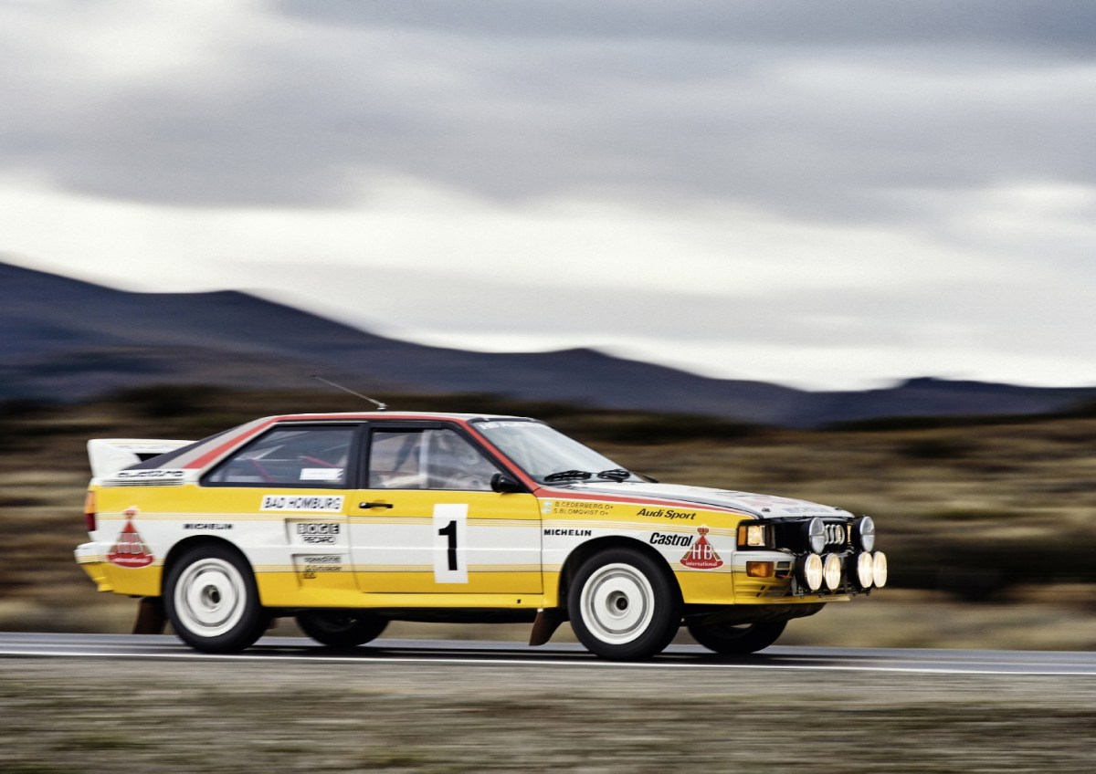 1983: five-cylinder engine triumphant in rallying: In the 1983 Corsica Rally, Audi competes for the first time with the Audi quattro A2, Group B. Its 2.1-liter turbocharged five-cylinder inline engine produces 265 kW (360 hp) at 6,500 revolutions per minute and delivers 450 newton meters (331.90 lb-ft) of torque at 4,000 rpm. At the end of the season, the Finn Hannu Mikkola wins the drivers' title in this car. One year later, the Swede Stig Blomqvist replicates this success: he becomes world rally champion, while Audi wins the manufacturers' world rally championship for the second time after 1982.