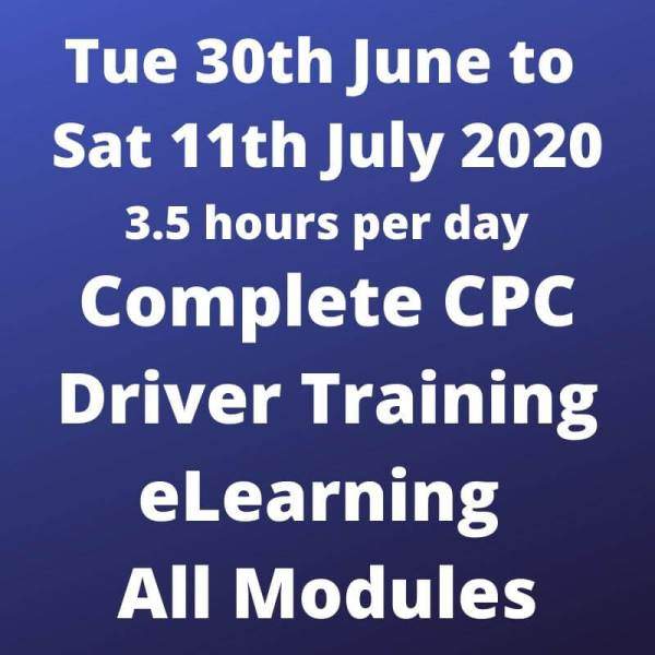 CPC Driver Training All Modules - 30 June to 11 July 2020