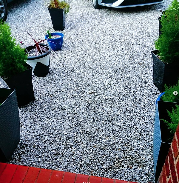 Added Greenery to Gravel Driveway