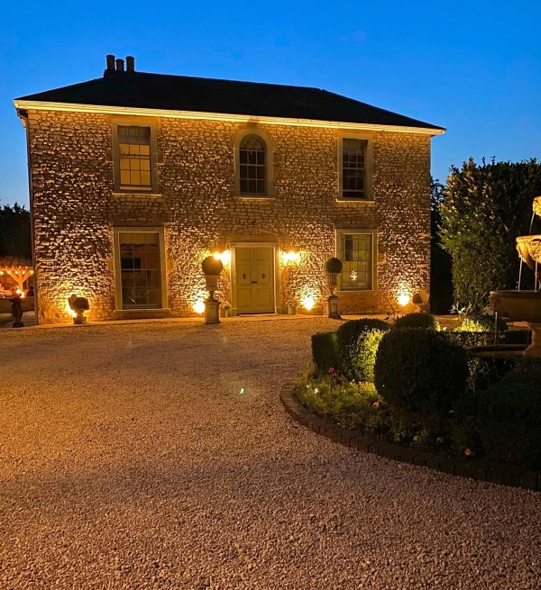 Gravel Driveway with Lighting and Fountain