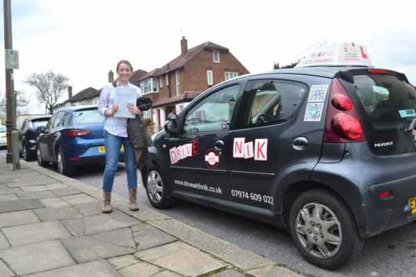 Laura passed her manual practical driving test first time with Drive with Nik