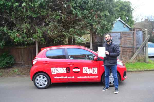 Automatic driving lessons Muswell Hill Bardi passed his practical driving test with Drive with Nik