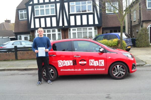 Driving Lessons Muswell Hill. Barney passed with Drive with Nik.