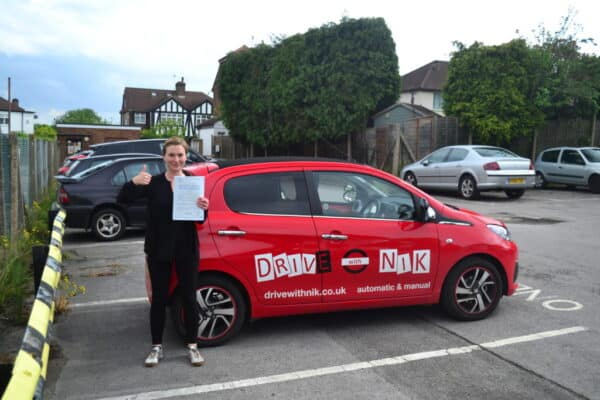 Manual driving lessons Muswell Hill Aislinn passed her practical driving test first time with Drive with Nik