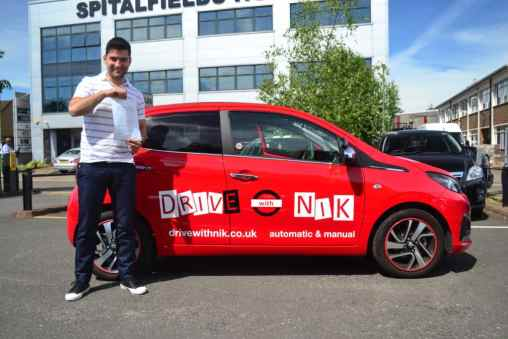 Manual Driving Lessons Crouch End. Aldo passed his manual driving test with Drive with Nik.