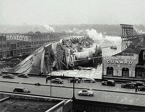 The capsized Normandie.