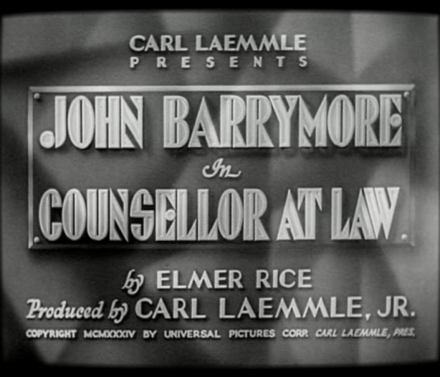 Great Art Deco font used for the titles of Counsellor at Law.