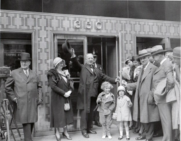 Al Smith opens the Empire State Building, May 1, 1931. This photo shows the original door design of the 5th Avenue entrance.