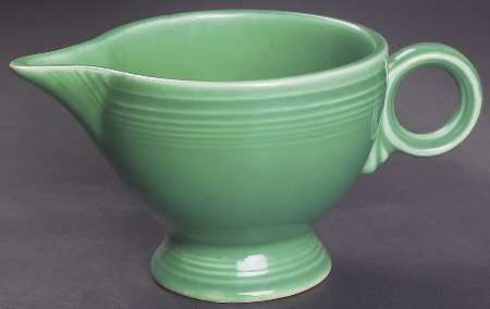 Fiestaware Green Ring Handle Creamer. Production Dates: July, 1938 - July, 1969.