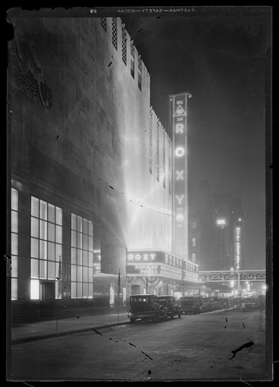 Night time view of the R-K-O Roxy. January 3, 1933.