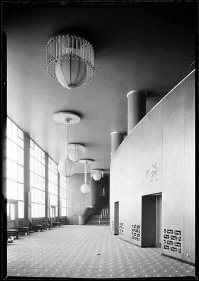 Mahogany lobby wall of the R-K-O Roxy, 1932.