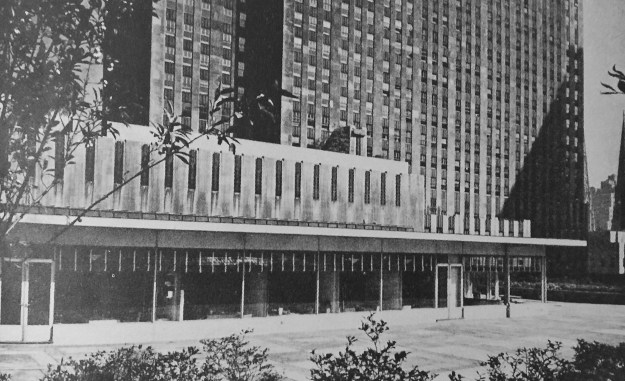 The 1940 Simon & Schuster offices over the Center Theatre.