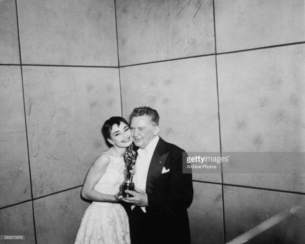 Jean Hersholt and Audrey Hepburn in the basement of the Center Theatre.