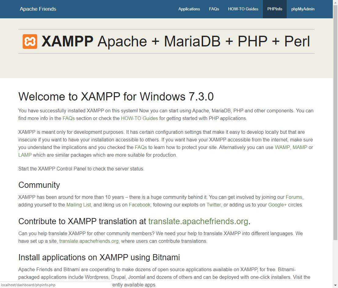 Installing XAMPP server on a Windows 10 machine (Apache