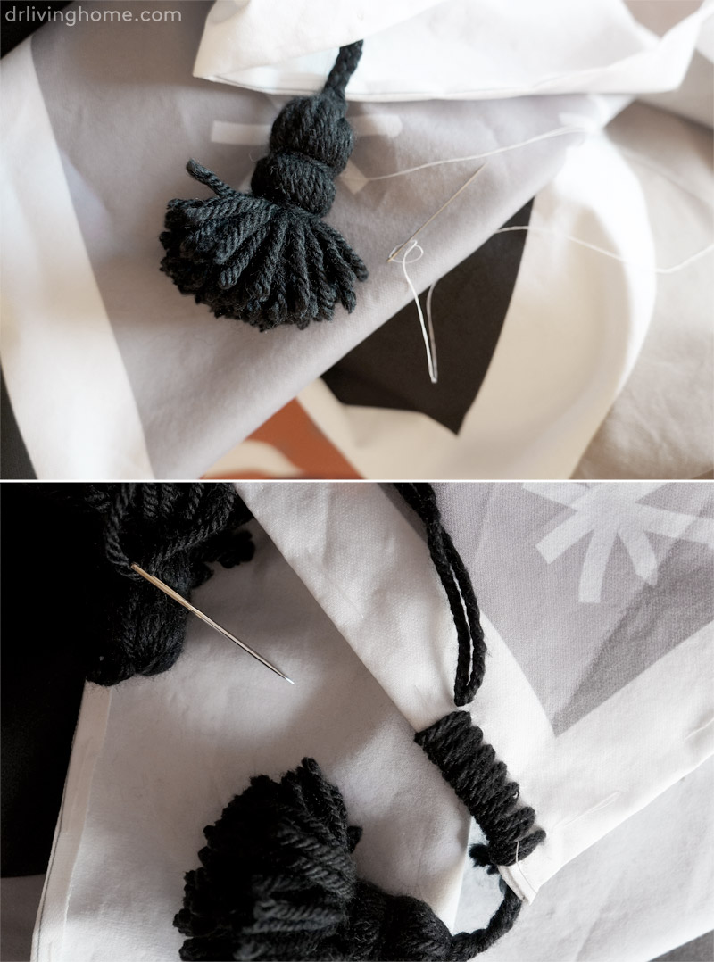 Manta diy. Cómo hacer borlas trenzadas