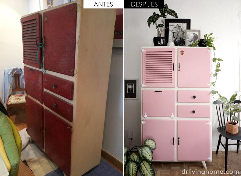 Antes y después de una alacena de cocina vintage