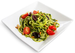Pesto Pasta.  I don't make mine with olives or tomatoes but it made for a more colorful picture!