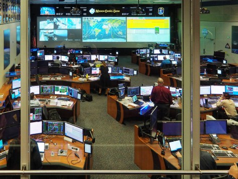 A more modern control center used for the International Space Station. Note the ashtray loaded with cigarettes!