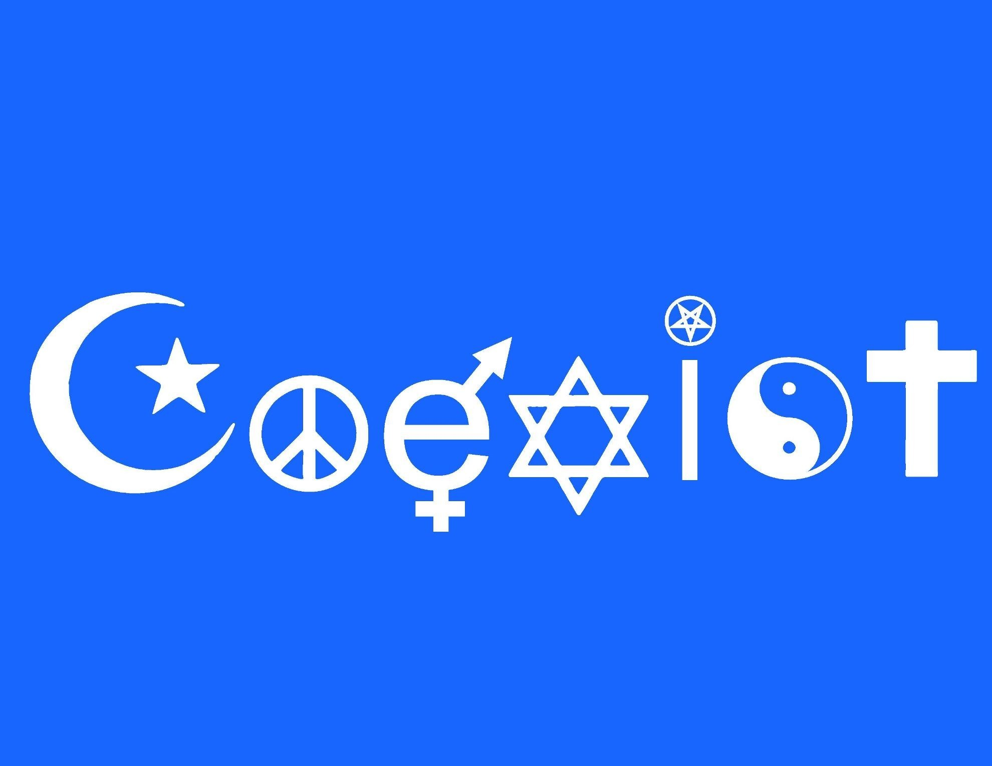 They cant all be true dr mike spaulding this bumper sticker contains one word coexist each letter of the word coexist utilizes a different religious symbol to spell biocorpaavc