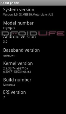 motorola olympus dl - Screenshot do Motorola Olympus rodando Android 3.0, Gingerbread?