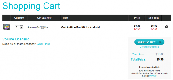 QuickOffice Pro checkout pic