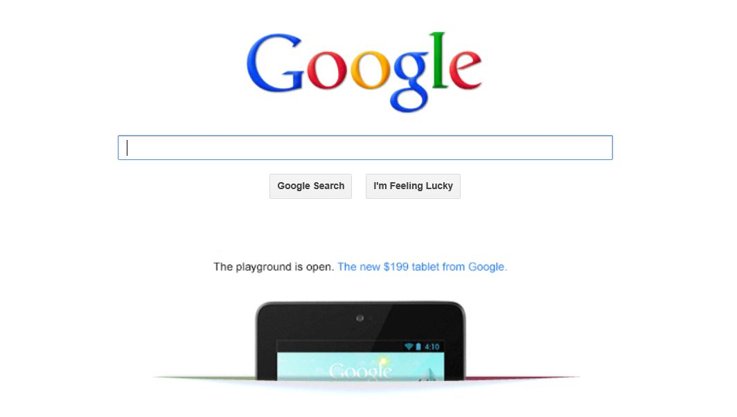 Google shows the Nexus 7 some love by placing an ad on its home page