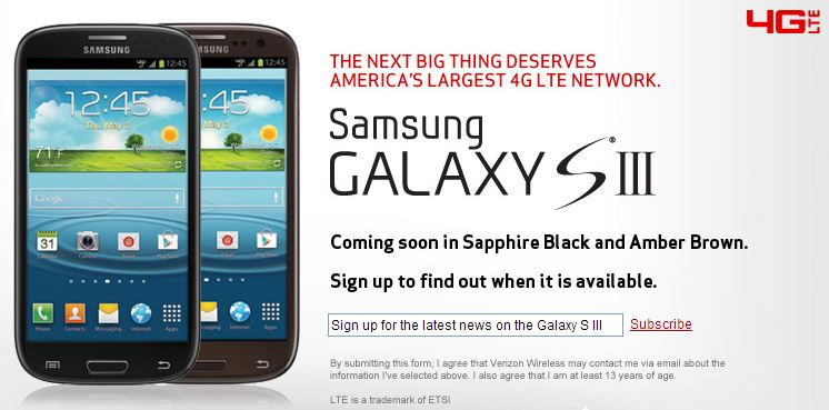 Black and Brown Samsung Galaxy S III coming soon to Verizon Wireless