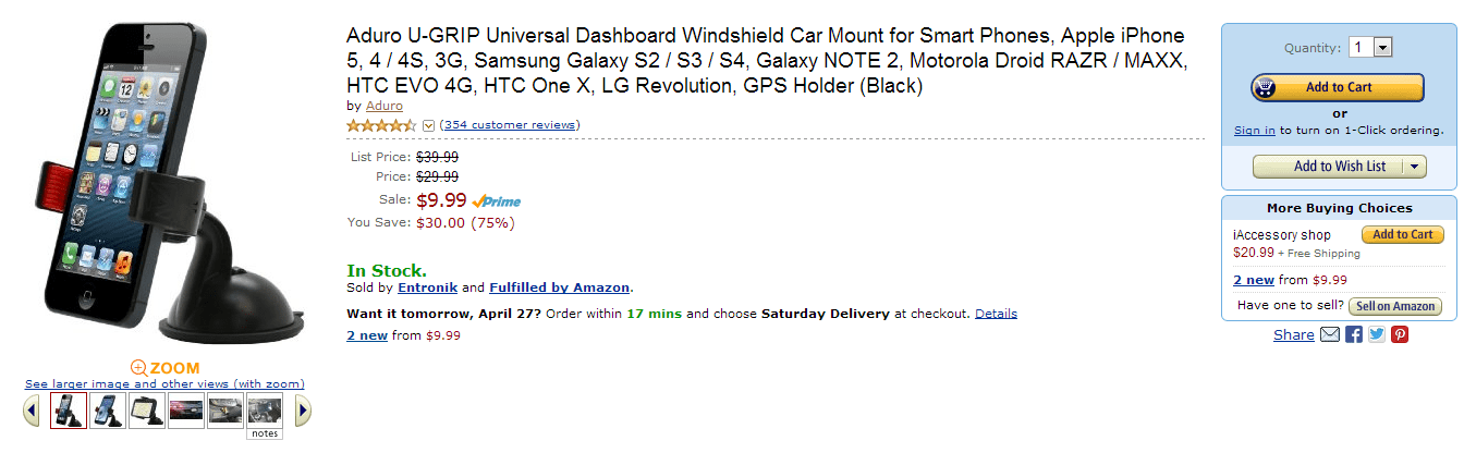 [Deal] Aduro U-Grip Universal Windshield Car Mount, fits Galaxy Note 2 and more $10 (50%)