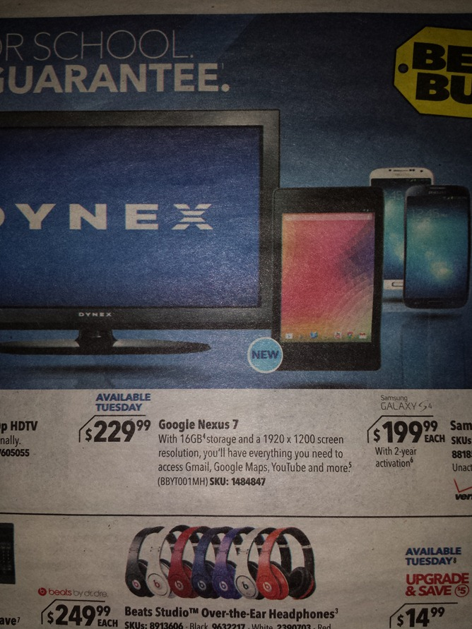 [Leak] Best Buy ad reveals New Nexus 7 with 1920×1200 display, releasing July 30 for $229