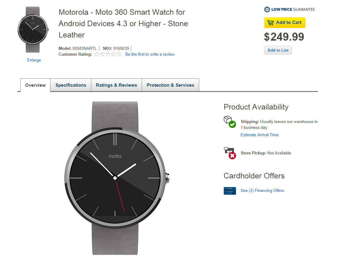 ICYMI: Moto 360 smartwatch with Stone leather strap available at Best Buy (updated)