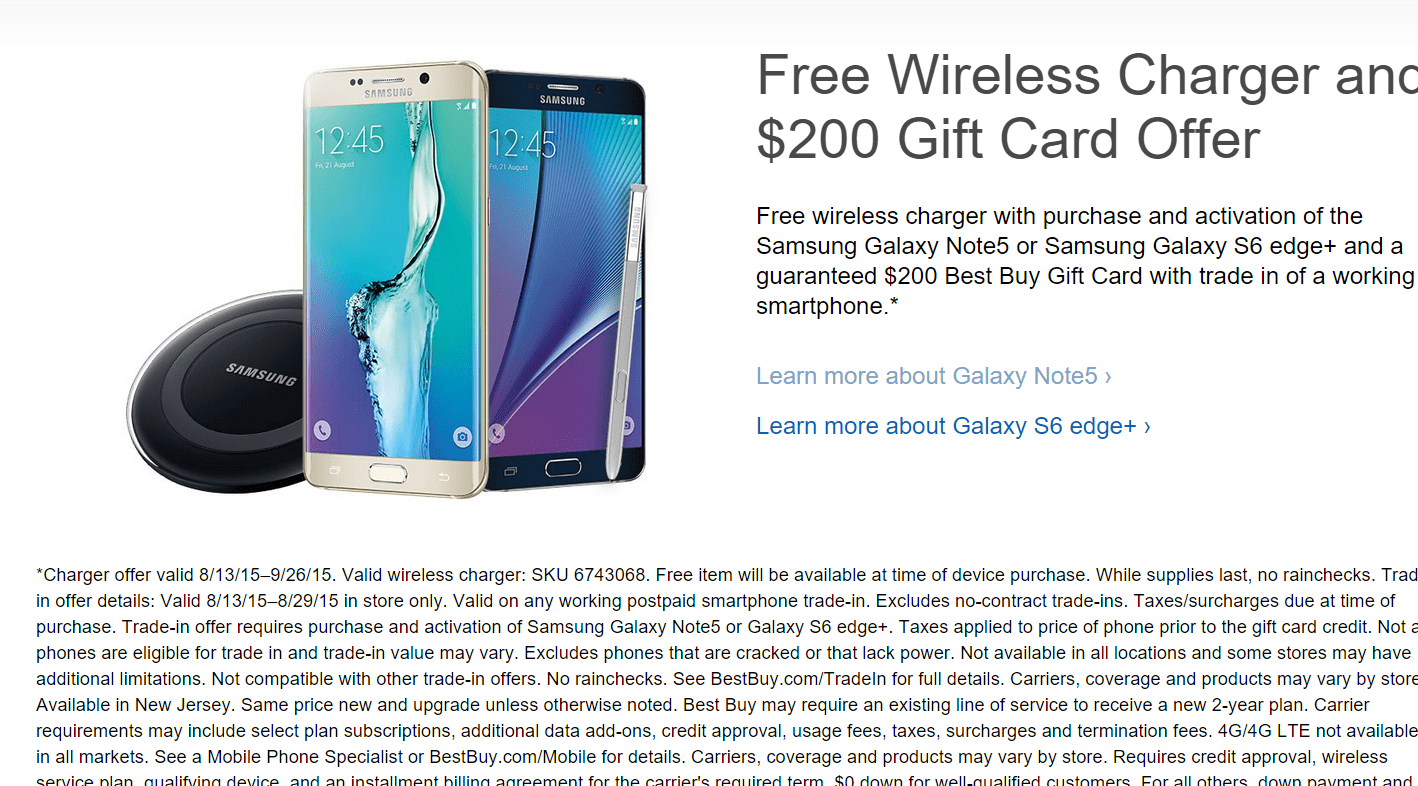 [Deal] Galaxy Note 5, S6 Edge Plus Best Buy Promo gives you $200 for your old phone, free wireless charger