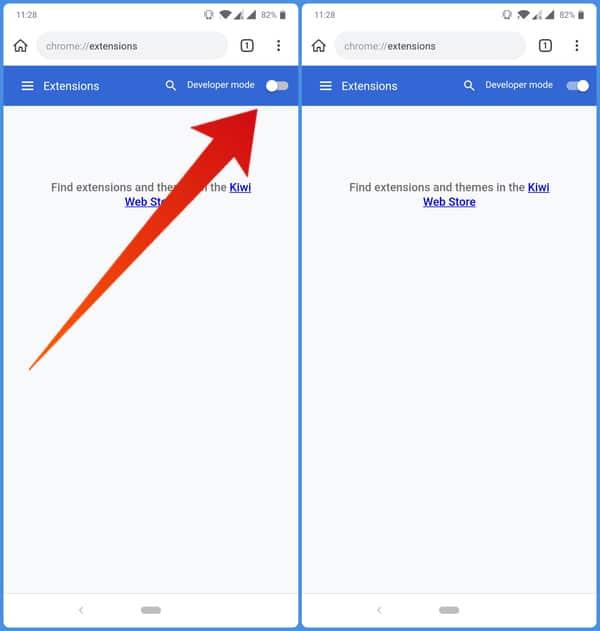 enable developer mode Kiwi browser