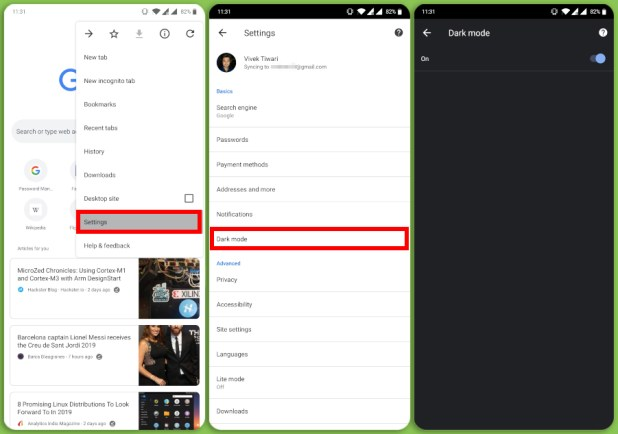 Dark mode settings in Chrome for Android