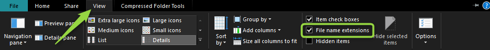 Windows 10-Dateierweiterung
