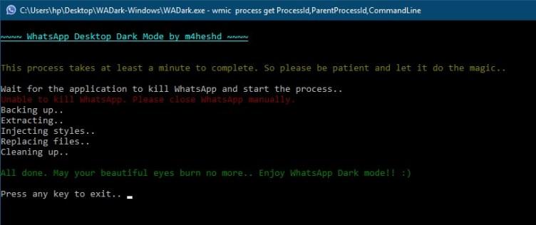 WA executable file dark
